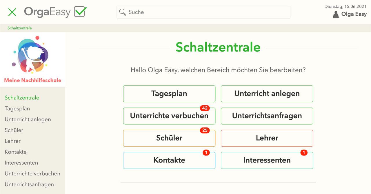 OrgaEasy – helles Layout Design - Verwaltungssoftware Nachhilfeschulen