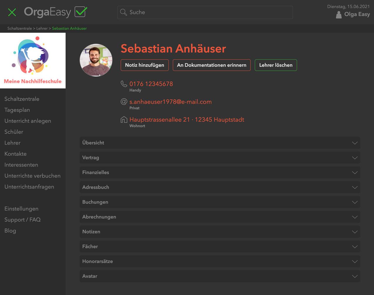 OrgaEasy – Lehrer Verwaltung - Übersicht - Verwaltungssoftware Nachhilfeschulen