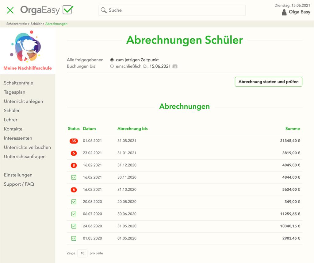 OrgaEasy - Schülerabrechnungen / Abrechnungen für Schüler in hellem Design