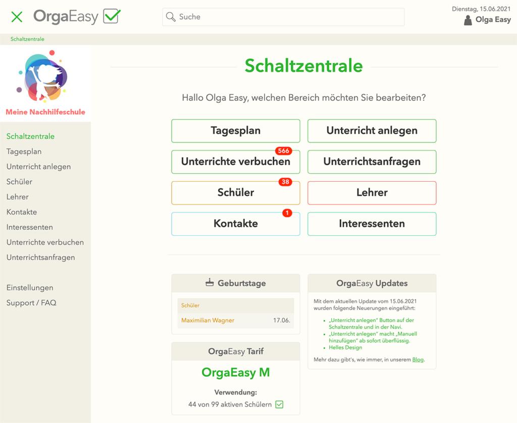 OrgaEasy - auch in hellem Design können jetzt Unterrichte / Schüler / Lehrer / Interessenten verwaltet werden