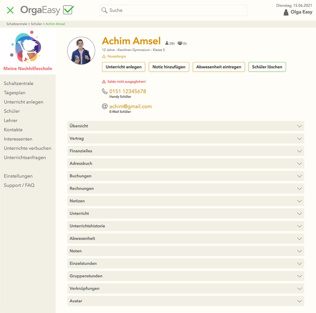 OrgaEasy - Schüleransicht und Verwaltungstools in hellem Design
