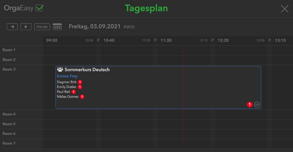 OrgaEasy Tagsplan / Stundenplan nun mit grafischer  Echtzeit Anzeige der aktuellen Uhrzeit